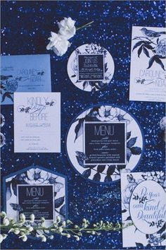 Black, white, and blue very chic wedding ideas / http://www.deerpearlflowers.com/navy-blue-and-white-wedding-ideas/