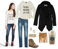 Back to School Outfits Stylish back to school outfits. Tween Girls tops, skinny jeans, boots, accessories and more for less. Cool back to school outfit first day in middle school. Women, Men and Kids Outfit Ideas on our website at 7ootd.com #ootd #7ootd