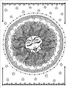5 pages Mandala Digital Coloring pages Hand drawn original Zen style art to color/adult/coloring book/digi stamp/sun/flower/zentangle Sun Coloring Pages, Mandala Coloring Pages, Animal Coloring Pages, Printable Coloring Pages, Coloring Books, Colouring, Sun And Moon Drawings, Sun And Moon Mandala, Sun Moon