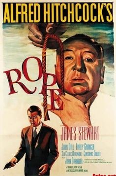 Rope directed by Alfred Hitchcock, starring Jimmy Stewart. Of his fifty films, Hitchcock said this was his personal favorite because almost the entire film takes place in one room. Old Movie Posters, Classic Movie Posters, Cinema Posters, Movie Poster Art, Film Posters, Classic Movies, Poster Frames, Alfred Hitchcock, Hitchcock Film