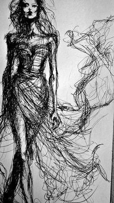 Fashion Sketch - elegant fashion illustration of a model in a glam dress // Daina Cutulab