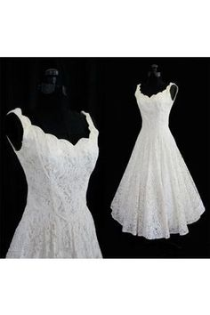 Simple A-line Straps V-neck Knee Length Lace Beach Wedding Dresses For Bridal TLWD2015061906