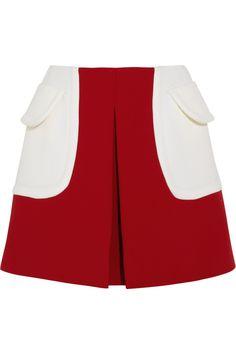 Miu Miu | Color-block wool-twill mini skirt | NET-A-PORTER.COM