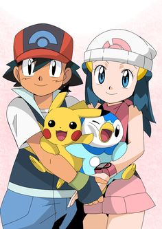 Ash and Pikachu with Dawn and Piplup ^_^ ^.^ ♡