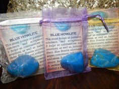 Genuine Tumbled Blue Howlite, approximately 1 inch or larger stones. You receive ONE Genuine Blue Howlite with a Gemstone Meaning Card and an Organza