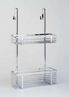 InterDesign Gia Over-Door Shower Caddy, Hanging Bathroom Shelves, Made of Stainless Steel Shelves