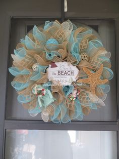 beach sea wreath wreaths dollars front sand doors a amazon summer com nets coastal door stroll cottage outdoors dp glass
