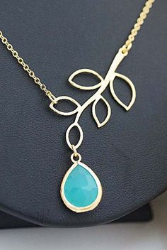 Golden Twig with Mint Opal Glass drop necklace from EarringsNation