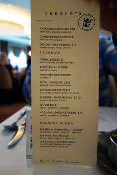 Spotted New Main Dining Room Menu On Royal Caribbean's Oasis Of Brilliant Allure Of The Seas Main Dining Room Menu Design Inspiration