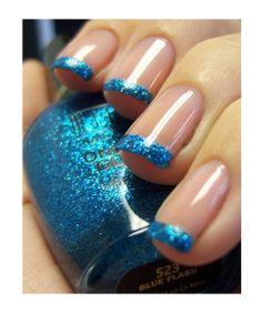 Something blue -- blue tipped nails! #somethingblue #weddingblue