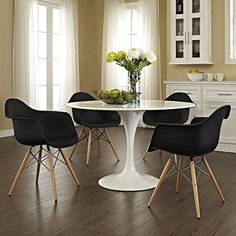2xhome – Set of Two (2) Black – Eames Style Armchair Natural Wood Legs Eiffel Dining Room Chair – Lounge Chair Arm Chair Arms Chairs Seats Wooden Wood Leg ...