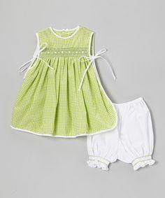 Green & White Pinafore Dress & Bloomers - Infant by Fantaisie Kids #zulily #zulilyfinds