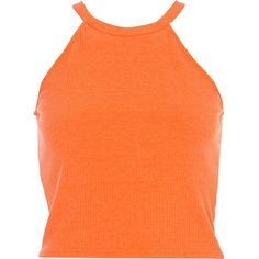 River Island Orange high neck ribbed crop top (€6,92) ❤ liked on Polyvore featuring tops, shirts, crop tops, tank tops, orange, sale, crop shirts, ribbed crop top, ribbed tank top and rib tank top