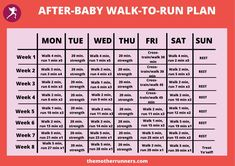 After being cleared by your doctor and/or pelvic floor specialist, work up to running 30 minutes without stopping with this flexible and safe 8 week after-baby training plan. #postpartumrunning #runningpostpartum #beginnerrunning #runningtips #runningtrainingplans Running Plan For Beginners, Beginners Cardio, Interval Cardio, Cardio Routine, Training Plan, Running Training, Running Workouts, Running Tips, Couch To 5k Plan