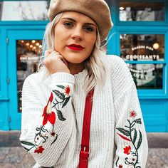 COCO MCCALL SHOP  shopcocomccall.com  Embroidered sweater, floral, beret, french