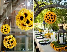 Sunflower Wedding Theme. these would be prettier if there was babies breathe in there.