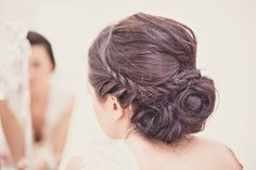 Beautiful plaited up-do wedding hair for Coco