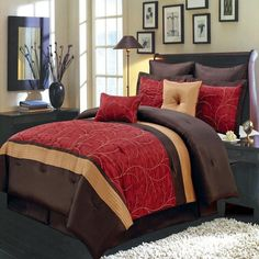 Modern Embroidered Red and Brown Color Block Comforter and Shams Set with Decorative Pillows.  The bedding set features gold accent color and embroidered vines pattern on a red background.