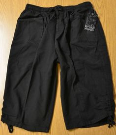 Erica Women's Capri Pants Soft Cotton Classic 1X, 2X, 3X Black Elastic Waist NWT #Erika #CaprisCropped $16.99