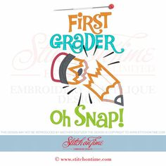 109 School : First Grader Pencil Applique 6x10