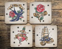 Tattoo Coaster Set of 4 - Vintage Tattoo Flash - Swallow Tattoo - Rose Tattoo - Heart Tattoo - Galleon Tattoo - Drink coasters by RegalosOnline on Etsy https://www.etsy.com/listing/237679038/tattoo-coaster-set-of-4-vintage-tattoo