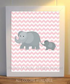 Nursery art, elephant nursery, chevron, pink grey, baby girl nursery, compliments Pottery Barn Kids Taylor Nursery Bedding - 8x10 print