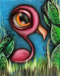 Flamingo Print $11.65 Art by Abril Andrade