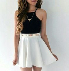 I love this look. Black crop top/tank, a white skater skirt, accessorized perfec… I love this look. Black crop top/tank, a white skater skirt, accessorized perfectly with a simple gold necklace and a matching belt. Komplette Outfits, Cute Casual Outfits, Skirt Outfits, Pretty Outfits, Spring Outfits, Cute Outfits With Skirts, Pretty Clothes, Girls Fashion Clothes, Teen Fashion Outfits