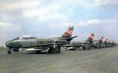 Sabres of 421 Squadron Royal Canadian Air Force at RCAF Station Grostenquin, France. Military Jets, Military Aircraft, Air Fighter, Fighter Jets, Sabre Jet, Canadian Army, Aircraft Photos, Fighter Aircraft, American