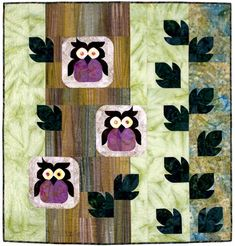 Whoo's There www.southwindquilts.com, #quilting, #modernquilting, #quiltpattern, #owls