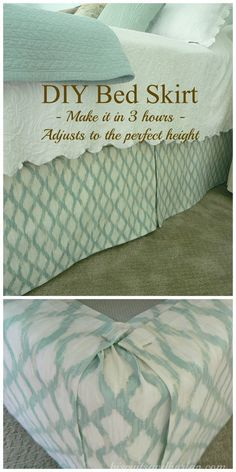 Full how-to on the blog. I made this bed skirt for the $32 fabric cost. It was fun, easy, fast and I put it on by myself. No need to remove the mattress and it adjusts to the perfect height!