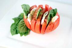 Cute idea for individual servings of caprese - its also super pretty