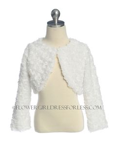 SK_C03W - Flower Girl Bolero Jacket Style C03- Cute Fluffy Chenille Bolero Jacket - Holiday Dresses - Flower Girl Dress For Less