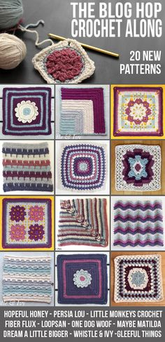 The Blog Hop Crochet Along - 20 new afghan square patterns - make a new afghan just in time for the holidays!