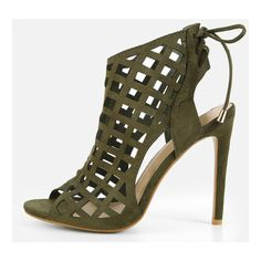 Caged Laser Cut Tie Back Heels OLIVE ($35) ❤ liked on Polyvore featuring shoes, pumps, olive, high heels stilettos, high heel stiletto pumps, open toe pumps, print pumps and caged pumps