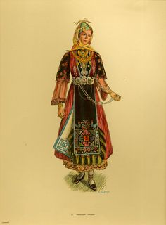 Costume from Pharsala - Collection Peloponnesian Folklore Foundation Greek Traditional Dress, Traditional Outfits, Ancient Greek Costumes, Costumes Around The World, Greek Culture, Greek Clothing, In Ancient Times, Folk Costume, Ethnic Fashion