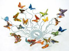 """Butterflies Forever Metal Art Fruit Bowl By David Gerstein by Most Original Gifts & Jewelry. $273.50. Approximately 18"""" X 18"""". Can be hanged on a wall. Each side is hand painted by the artist. The fruit bowl is a three dimensional serigraph on steel sculpture. Signed free standing metal sculpture. A beautiful expression of nature - this David Gerstein sculpture was originally made in 2008. The fruit bowl is made of metal and is painted in serigraph on steel. It may al..."""
