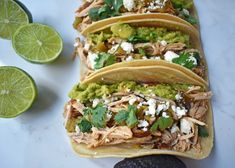 Green Chili Pork Carnitas Tacos. Slow cooked green chili pork seasoned with Mexican spices and freshly squeezed lime juice placed in a hot corn tortilla and topped with cotija cheese, jalapenos, avocado and cilantro. www.modernhoney.com Chicken Taco Recipes, Pork Recipes, Lunch Recipes, Cooking Recipes, Chicken Tacos, Chicken Chile, Green Chili Pork, Pork Carnitas Tacos