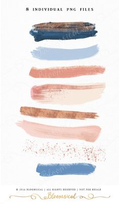 A sophisticated collection of 8 hand painted modern brush strokes in contemporary cornflower blue, rose gold foil, Blush, Marsala color palette. Have fun overlaying the brush paints to create your own creation or use them individually as a logo design or a website button!  The clip art set is perfect for fashion, beauty, blog & websites buttons, invites, packaging, party decor, planner stickers, photography marketing, posters, scrap booking and many more!   <♥<♥<♥ WHAT YOU WILL RECEIVE…