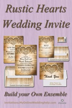 Rustic hearts wedding invitations, RSVP, save the date, postage, thank you card, and envelopes. Create your own ensemble. There are a lot of other rustic styles by this same designer on the page, too. #MyOnlineWeddingHelp