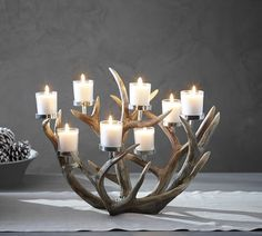 Pottery Barn Antler Multi-Votive Centerpiece (not made from real antlers! Fireplace Candle Holder, Candles In Fireplace, Antler Candle Holder, Rustic Candle Holders, Fireplace Hearth, Fireplace Ideas, Votive Centerpieces, Votive Candles, Antler Centerpiece