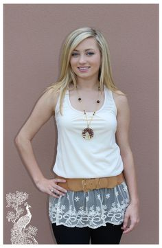 Ruffled Feathers Boutique - Fields Of Lace Top, $28.99 (http://www.ruffledfeathersboutique.com/fields-of-lace-top/) Unlike anything else this top is one of a kind. The detailed lace and neutral cream color would go with anything.