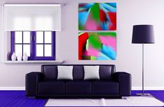 ID93 Vibrant abstract wall art prints,  set of 2. Colourful home or office decor. Instant colour to any room. Digital download prints. by ElcoStudio on Etsy