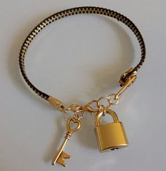 $20 Black & Gold Zipper Bracelet with Lock and Key by WillyInPhilly