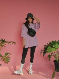 Sleeve Oversized Single Tone T-Shirt Mode Outfits, Korean Outfits, Grunge Outfits, Casual Outfits, Girl Outfits, Fashion Outfits, Fashion Tips, Fashion Trends, Grunge Look