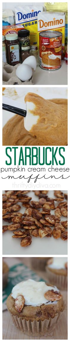 Copycat Starbucks Pumpkin Cream Cheese Muffins recipe! This tastes BETTER than Starbucks version. Add this to your muffin recipes!