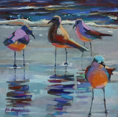 SILLY SEAGULLS IN THE SURF, painting by artist Elizabeth Blaylock