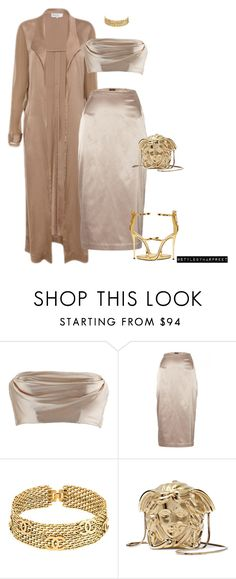 """""""silk everything!"""" by stylebyharpreet ❤ liked on Polyvore featuring Dolci Follie, By Malene Birger, Chanel, Versace and Giuseppe Zanotti"""