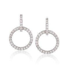 Ross-Simons - .75 ct. t.w. Diamond Circle Drop Earrings In 18kt White Gold - #775376