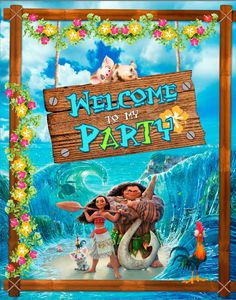 Free Moana - Welcome to my Party banner.